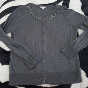 MERONA grey rhinestone retro cardigan sweater XL
